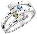 Custom Engravable 4-Stone Family Gemstone Ring in Sterling Silver