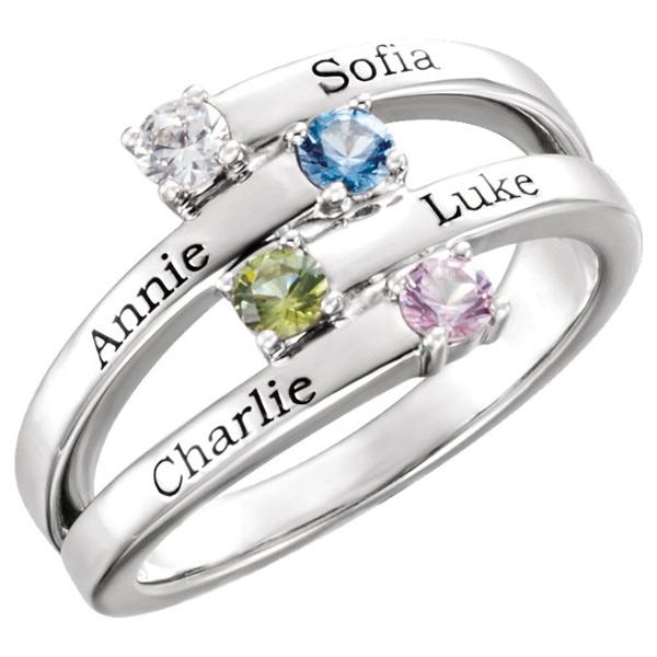 Engravable 4-Stone Family Gemstone Ring in 14K White Gold