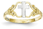 Filigree Cross Ring in 14K Gold and Rhodium