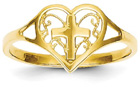 Filigree Heart and Cross Ring in 14K Yellow Gold