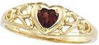 Filigree Heart Scroll Garnet Ring