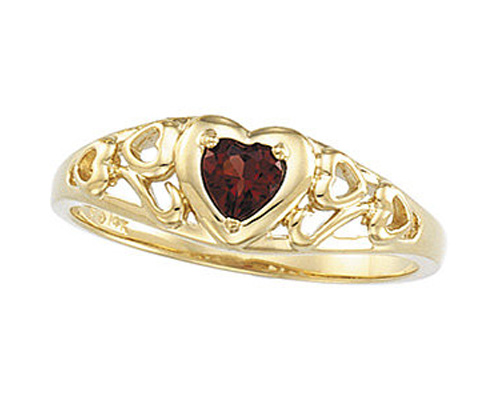Filigree Heart Scroll Garnet Ring
