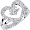 Fluer-de-Lis Diamond Heart Ring, Sterling Silver