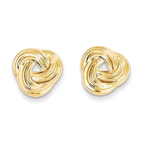 Flush Love Knot Earrings in 14K Gold