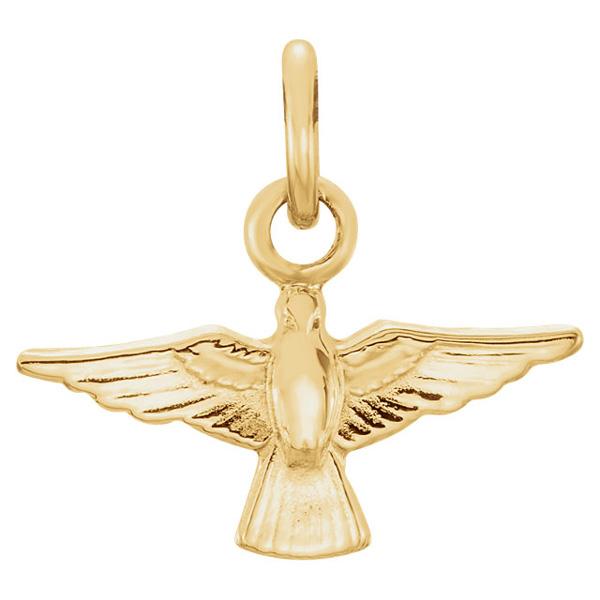 Flying Dove Holy Spirit Charm, 14K Gold