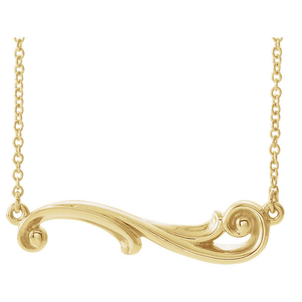 Freeform Paisley Bar Necklace in 14K Gold, 16