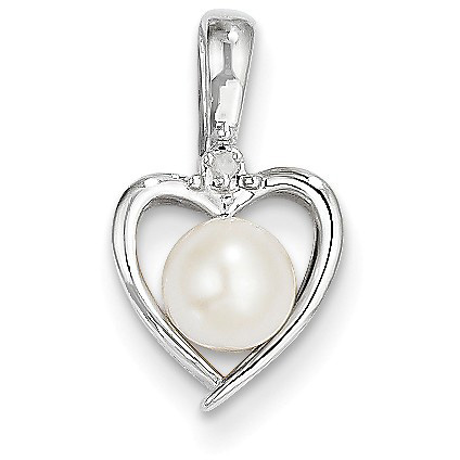Freshwater Cultured Pearl and Diamond Heart Pendant, 14K White Gold