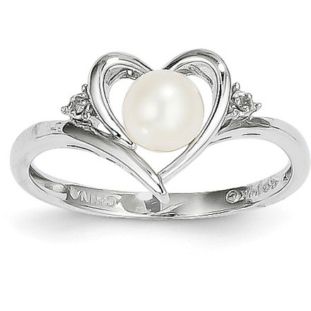 Freshwater Cultured Pearl Heart Ring in 14K White Gold