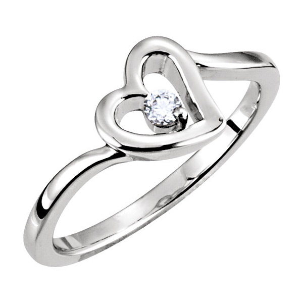 Full of Love Diamond Heart Ring in White Gold