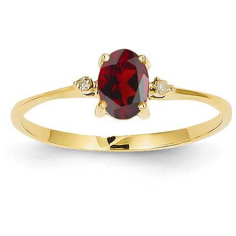 Garnet and Diamond Birthstone Ring in 14K Yellow Gold