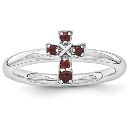 Garnet Cross Ring in Sterling Silver