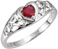 Garnet Heart Scroll Ring in 14K White Gold