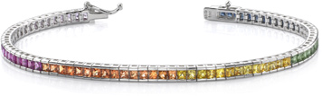 Multi-Color Sapphire Rainbow Bracelet, 14K White Gold
