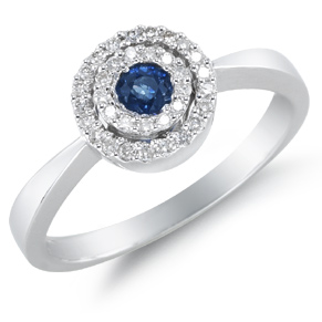 Buy Sapphire and Diamond Circle Ring, 14K White Gold