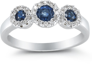 Buy Three Stone Sapphire and Diamond Ring