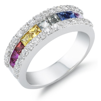 Buy Multi-Color Sapphire Gemstone and Diamond Ring
