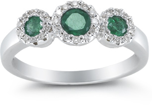Buy Three Stone Emerald and Diamond Ring