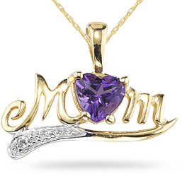 "Buy Amethyst and Diamond ""Mom"" Pendant, 10K Yellow Gold"