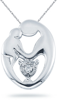 Buy Mother's Love 14K White Gold and Diamond Pendant