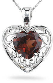 Buy Garnet Heart and Diamond Pendant, 14K White Gold