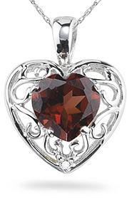 Garnet Heart and Diamond Pendant, 14K White Gold