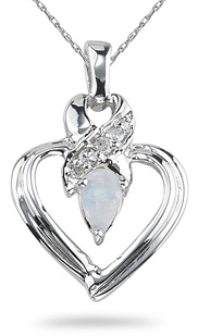 Opal and Diamond Heart Pendant, 14K White Gold