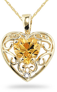 Citrine and 14K Yellow Gold Heart Pendant (Pendants, Apples of Gold)