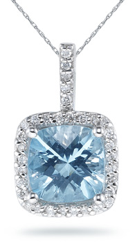 Cushion Cut Aquamarine and Diamond Pendant, 14K White Gold