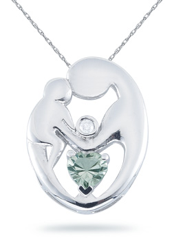 Mother's Love Green Amethyst Pendant, 14K White Gold (Pendants, Apples of Gold)