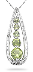 Buy Peridot and Diamond Journey Pendant, 14K White Gold