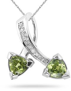 Buy Trillion Cut Peridot and Diamond Pendant, 14K White Gold