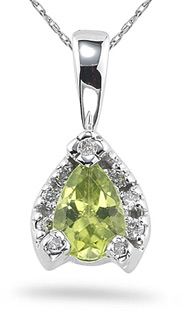 Buy Peridot and Diamond Pendant, 14K White Gold