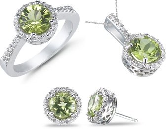 5 Carat Peridot and 0.61 Carat Diamond Ring, Earrings, and Pendant Set (Rings, Apples of Gold)