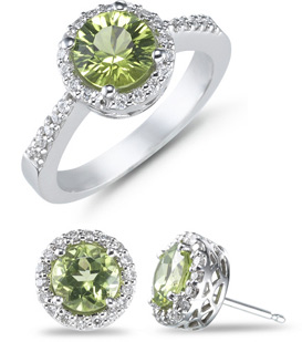 3.50 Carat Peridot and 1/2 Carat Diamond Ring and Earrings Set