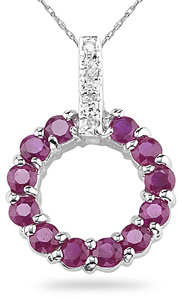 Buy Ruby Circle Pendant, 14K White Gold