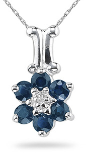 Buy Sapphire and Diamond Flower Pendant, 14K White Gold