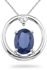 Buy Sapphire and Diamond Circle Pendant, 14K White Gold