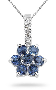 Sapphire and Diamond Flower Pendant, 14K White Gold