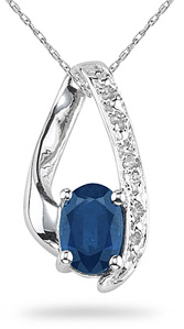 Sapphire and Diamond Drop Teardrop Pendant, 10K White Gold