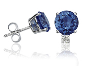 Sapphire and Diamond Stud Earrings, 14K White Gold (Earrings, Apples of Gold)