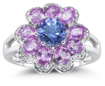 Buy Tanzanite and Pink Sapphire Flower Ring, 14K White Gold