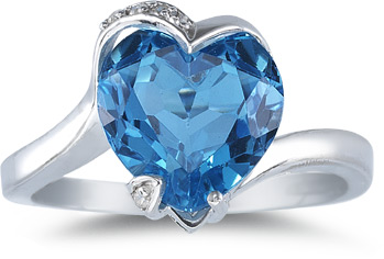 Blue Topaz Heart Ring, 14K White Gold - Jewelry
