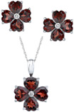 7.48 Carat Garnet Heart Clover Earring and Pendant Set