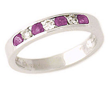 14K White Gold Diamond and Pink Sapphire Channel Set Ring (Apples of Gold)