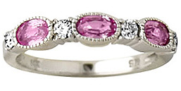 Buy 14K White Gold Pink Sapphire and Diamond Ring