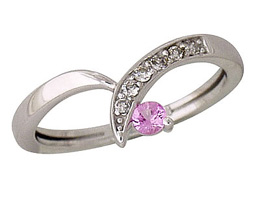 Pink Sapphire and Diamond Twist Ring, 14K White Gold