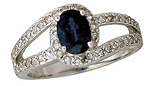 Blue Sapphire and Diamond Wrap Ring, 14K White Gold