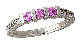 Three Stone Pink Sapphire and Diamond Ring, 14K White Gold