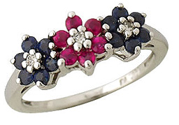 Sapphire and Ruby Flower Ring, 14K White Gold (Apples of Gold)