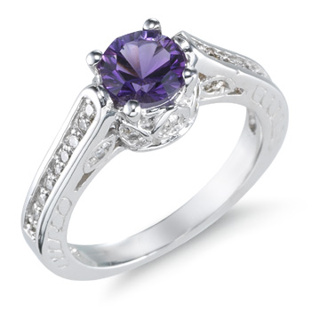 1 Carat Amethyst and Diamond Ring, 14K White Gold (Rings, Apples of Gold)